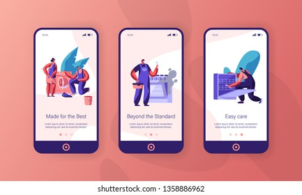 Repairman Fixing Appliance Mobile App Page Onboard Screen Set. Handyman Repair Washing Machine and Dish Washer. Man Service Kitchen Stove Website or Web Page. Flat Cartoon Vector Illustration