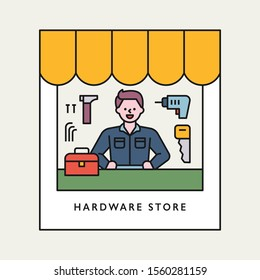 Repairman in a hardware shop. flat design style minimal vector illustration.