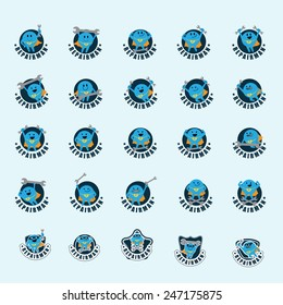 Repairman Icons Set - Isolated On Gray Background - Vector Illustration, Graphic Design, Editable For Your Design