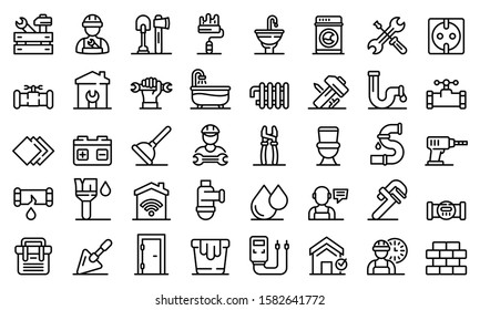 Repairman icons set. Outline set of repairman vector icons for web design isolated on white background