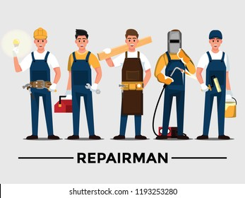Repairman set,People teamwork ,Vector illustration cartoon character.