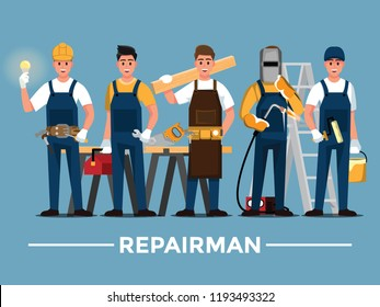 Repairman set,People teamwork ,Vector illustration cartoon character.