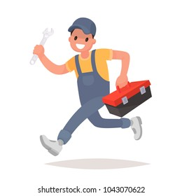 Repairman with the tools is running. Technical service. Vector illustration in a flat style