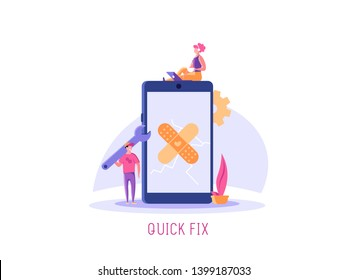 Repairmen, repair phone, fix app concept. Phone repair illustration with worker with spanner and equipment. Vector illustration in flat design