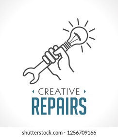 Repairs icon - hand with wrench concept