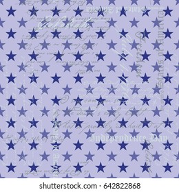 Repeat Blue Stars Pattern / Random Words Texture related to Independence Day / Global Colors saved with pattern swatches