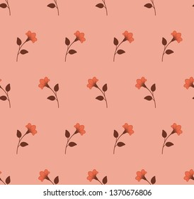 Repeat botanical pattern. Horizontal rows of flowers with stems and leaves. Orange, brown, coral pink, peach color. Seamless geometric pattern. Vector illustration.