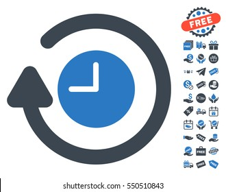 Repeat Clock pictograph with free bonus pictograms. Vector illustration style is flat iconic symbols, smooth blue colors, white background.