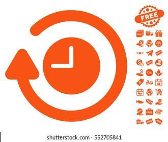 Repeat Clock pictograph with free bonus symbols. Vector illustration style is flat iconic symbols, orange color, white background.