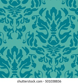 Repeat damask pattern in teal blue