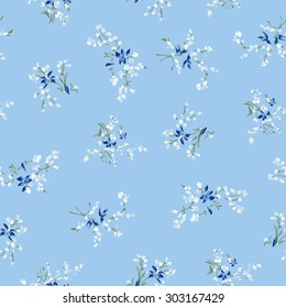 The repeat design of an floral pattern Color blue