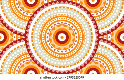 Repeat ethnic circle pattern, seamless pattern