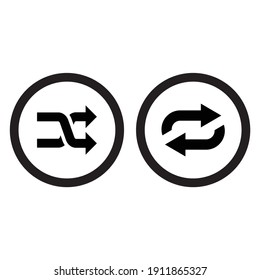 repeat icon, shuffle button, cross sign
