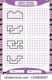 Repeat Pattern. Tracing Lines Activity, Special for preschool kids. Worksheet for practicing fine motor skills. Simple shapes. Complete the pattern. Symmetry. Purple A4