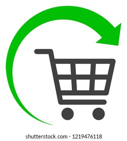 Repeat shopping cart icon on a white background. Isolated repeat shopping cart symbol with flat style.