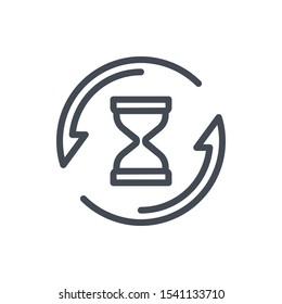 Repeat time line icon. Clock with update arrow vector outline sign.