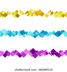 Repeatable abstract square pattern paragraph separator line design set - vector decoration elements from colored diagonal rounded squares
