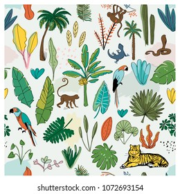 REPEATABLE JUNGLE PATTERN. Editable vector illustration file. Can use as print, background, decoration,brand ...