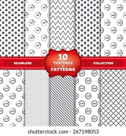 Repeatable patterns and textures. Angle 45-360 degrees circle icons. Geometry math signs symbols. Full complete rotation arrow. Gray dots, circles, lines on white background. Vector