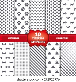 Repeatable patterns and textures. Pets icons. Dog paw and feces signs. Clean up after pets. Pets food. Gray dots, circles, lines on white background. Vector