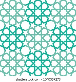 Repeatable Seamless Islamic Star Pattern Isolated on White Background