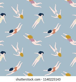 Repeated background with figures of young girls in swimsuits. Cute vector illustration in hand drawn style. Swimming collection. Seamless pattern.