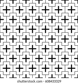 Repeated black figures and lines on white background. Crosses wallpaper. Seamless surface pattern design with polygons. Mosaic motif. Digital paper for page fills, web designing, textile print. Vector