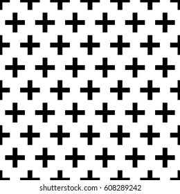 Repeated black pluses on white background. Crosses wallpaper. Seamless surface pattern design with polygons. Mosaic motif. Digital paper for page fills, web designing, textile print. Vector art.