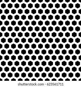 Repeated black polygons on white background. Honeycomb wallpaper. Seamless surface pattern design with regular hexagons. Grill motif. Digital paper for page fills, web designing, textile print. Vector