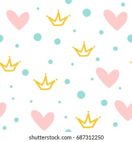 Repeated crowns, hearts and round dots. Cute seamless pattern. Drawn by hand. White, pink, blue, yellow color. Vector illustration.