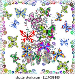 Repeated doodles. Seamless colorfil pattern. Hand drawing on a white, green and blue background. Mystical, symbols.