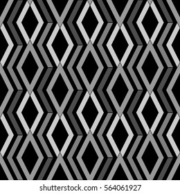 Repeated grey figures on black background. Ethnic wallpaper. Seamless surface pattern design with rhombuses and lines ornament. Diamonds motif. Digital paper for textile print, web designing. Vector