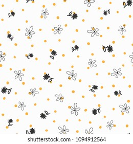 Repeated irregular polka dot and flowers drawn by hand. Floral seamless pattern. Doodle, sketch, scribble. Endless print. Trend vector illustration.