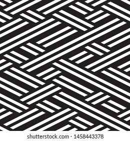 Repeated monochrome pattern. Vector seamless pattern. Modern stylish texture. Monochrome geometric pattern with stripes.