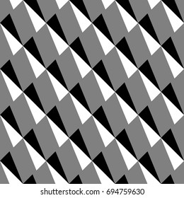Repeated ornamented slanted strokes on grey background. Seamless surface pattern design with polygons ornament. Blocks wallpaper. Diagonal triangles motif. Digital paper, print. Checkered vector art.