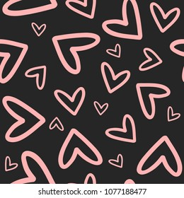 Repeated outlines of hearts drawn by hand. Romantic seamless pattern. Endless cute print. Girly vector illustration.