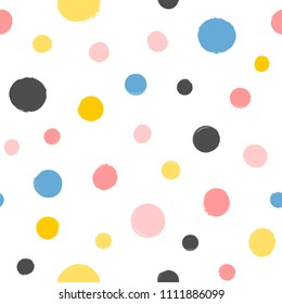 Repeated round spots painted with a watercolor brush. Geometric seamless pattern. Grunge, watercolor, sketch. Vector illustration. White, pink, blue, black, orange colors.
