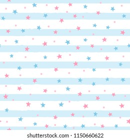 Repeated scattered stars and round dots on uneven striped background. Cute seamless pattern for girls. Endless girly print. Vector illustration.