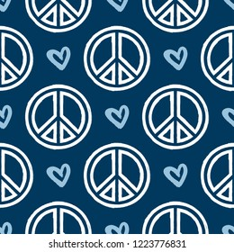 Repeated sign of peace and heart drawn by hand with rough brush. Seamless pattern. Sketch, watercolor, paint. Vector illustration.