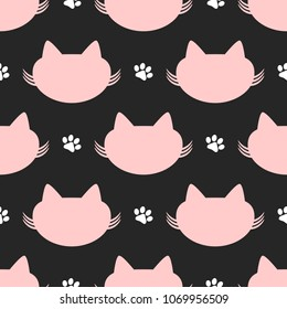 Repeated silhouettes of cat heads and paw prints. Cute seamless pattern. Funny endless print. Vector illustration.