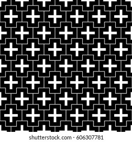 Repeated white figures and lines on black background. Crosses wallpaper. Seamless surface pattern design with polygons. Mosaic motif. Digital paper for page fills, web designing, textile print. Vector