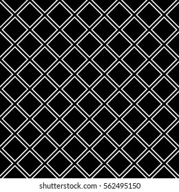 Repeated white rhombuses on black background. Ethnic wallpaper. Seamless surface pattern design with diamonds ornament. Checks motif. Digital paper for textile print, page fills, web designing. Vector