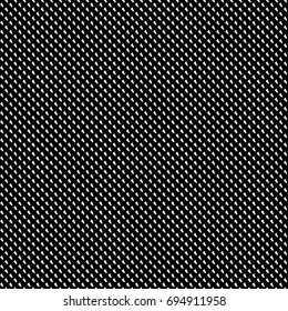Repeated white slanted mini marks on black background. Seamless surface pattern design with polygons ornament. Quadrangular blocks wallpaper. Jagged checks motif. Digital paper, print. Dashed vector.