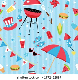 Repeating backyard BBQ party pattern in patriotic color scheme. Repeating vector patterns are great for backgrounds, wallpaper, and surface designs.