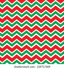 Repeating chevron zig zag background in Christmas holiday colors red and green