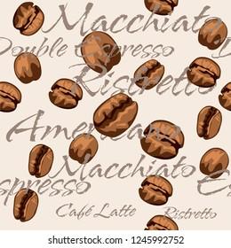 Repeating coffee bean pattern including the text Espresso, Double Espresso, Macchiato, Ristretto, Americano, Café Latte, Cappuccino.