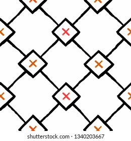 Repeating geometric tiles with squares and rhombuses and red crosses. Vector seamless pattern. Modern stylish texture.