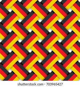 Repeating Germany Flag Made with Official German National Colors Interlaced Stripes Seamless Pattern Wallpaper - Black Red and Yellow Elements on White Background - Vector Flat Graphic Design