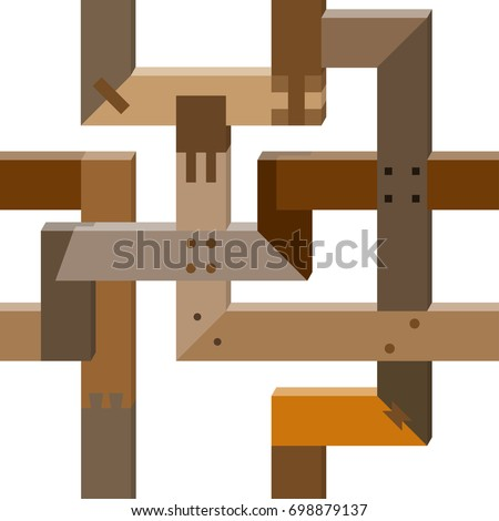 Repeating Pattern Different Woodworking Joints Stock Vector Royalty