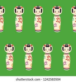 Repeating pattern of Kokeshi